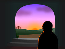 Easter - Christ é levantado Fotografia de Stock