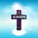 Easter christian celebration He is risen cross sky vector background Stock Image