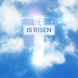 Easter christian celebration He is risen vector background.  Royalty Free Stock Photo