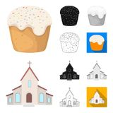 Easter is a Christian holiday cartoon,black,flat,monochrome,outline icons in set collection for design. Easter. Attributes vector symbol stock  illustration Royalty Free Stock Images