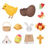 Easter is a Christian holiday cartoon icons in set collection for design. Easter attributes vector symbol stock web. Easter is a Christian holiday cartoon icons Royalty Free Stock Photos
