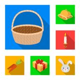 Easter is a Christian holiday flat icons in set collection for design. Easter attributes vector symbol stock web. Easter is a Christian holiday flat icons in set Royalty Free Stock Photography