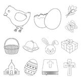 Easter is a Christian holiday outline icons in set collection for design. Easter attributes vector symbol stock web. Easter is a Christian holiday outline icons Stock Images