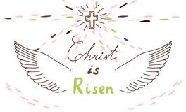 Easter christian motive with lettering and sketch royalty free illustration