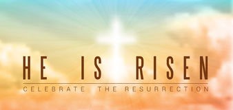 Easter christian motive, resurrection. Easter christian motive,with text He is risen, vector illustration, eps 10 with transparency and gradient mesh
