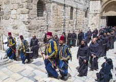 Easter in the church of the holy sepulcher in Jerusalem Stock Photography