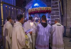 Easter in the church of the holy sepulcher in Jerusalem Stock Images