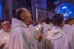 Easter in the church of the holy sepulcher in Jerusalem Royalty Free Stock Photography