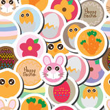 Easter circle food sticker seamless pattern Royalty Free Stock Photo