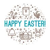 Easter circle greetings. Happy Easter royalty free illustration