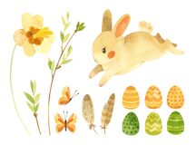 Easter clipart set with cute rabbit. Baby bunny, Easter eggs and feathers and spring flowers.