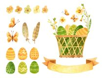 Easter clipart set - wicker basket with Easter eggs, ribbon for text and spring flowers.