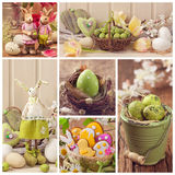 Easter collage. Of photos with spring decoration stock photography