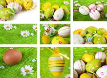 Easter collage. Painted Easter eggs themed collage Stock Image