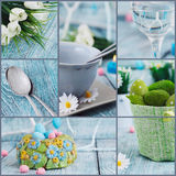 Easter collage. Easter background. Easter holiday collage. Easter table setting with colorful eggs, tulips and decoration Stock Image