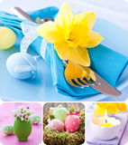 Easter collage. With easter eggs and table setting Stock Image