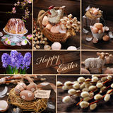 Easter collage with rustic decoration on wooden background Royalty Free Stock Photography
