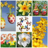 Easter Collage of seven pictures Royalty Free Stock Photography