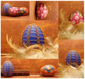 Easter collage with wire egg Royalty Free Stock Photos