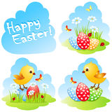 Easter collection with chick and eggs. Royalty Free Stock Photography