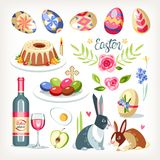 Easter collection set with traditional easter objects. Sacred food aminals drink cakes eggs vector illustration