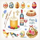 Easter collection set with traditional easter objects. Sacred food chickens drink cakes colored eggs basket and willow branch vector illustration