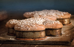 Easter colomba cakes cooking in an oven Royalty Free Stock Photography