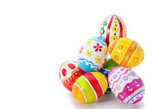 Easter color eggs. Over white background