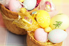 Easter  color eggs in  basket Stock Image