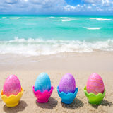 Easter color eggs on the beach - Instgram format Royalty Free Stock Photo