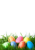 Easter color eggs on green grass Royalty Free Stock Photos