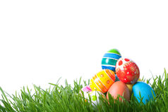 Easter color eggs on green grass Stock Photo