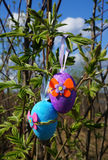 Easter color eggs on spring nature Royalty Free Stock Photos