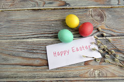 Easter color eggs and willow Royalty Free Stock Photos
