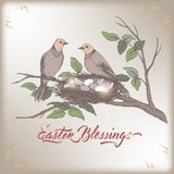 Easter color greeting card with two birds and nest with eggs. Based on hand drawn sketch and brush calligraphy. Great for holiday design Royalty Free Stock Photo