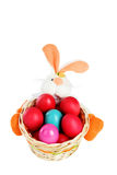 Easter colored eggs in the basket on white background. Easter eggs in the basket on white background Stock Image