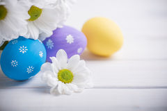 Easter colored eggs with flowers on white wooden background Stock Images