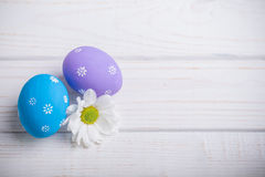 Easter colored eggs with flowers on white wooden background Stock Photos