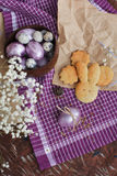 Easter colored eggs and homemade cookies Royalty Free Stock Photography
