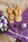 Easter colored eggs and homemade cookies Royalty Free Stock Photo