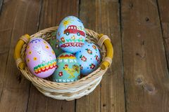 Easter colored eggs in the nest Stock Image
