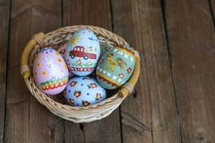 Easter colored eggs in the nest Royalty Free Stock Images