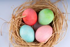 Easter and colored eggs stock photography