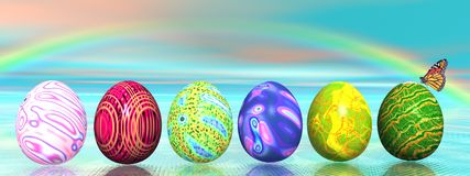 Easter colored eggs and rainbow Stock Photos