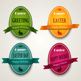 Easter colored eggs with ribbons Stock Photo