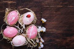 Easter colored eggs. Traditional Easter decoration Stock Images