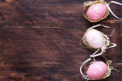 Easter colored eggs. Traditional Easter decoration Royalty Free Stock Photo