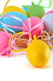 Easter colored eggs on the white background Stock Image