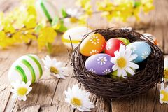 Easter colored eggs on wood Stock Photography