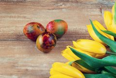 Easter colored eggs and yellow and red tulips on brown wooden board. Easter colored eggs and yellow and red tulips on brown wooden board Royalty Free Stock Photography